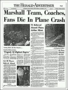 Marshall University,  Huntington, WV...1971...we are marshall....a good movie with wv history n truth behind it