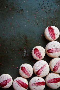 raspberry pink -peppercorn macaroons