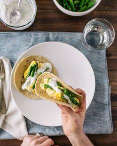 Yum.  Ricotta Scrambled Egg and Asparagus Tacos | via A Couple Cooks