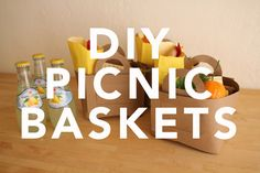 diy picnic baskets...would be adorable for a party in the park!