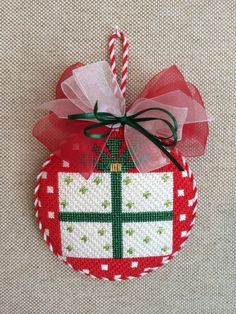 Present Ornament ~ Needlepoint Canvas by Melissa Shirley