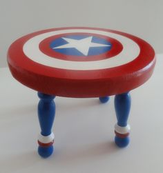 Handpainted Captain Amercia Decorative Stool by SilverSprout, $40.00