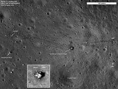 "Landing site of Apollo 17, the last Apollo mission. Gene Cernan & Jack Schmitt spent 75 hours on the Moon and drove for some 35 km (22 miles) around the landing site.   An enlargement of the descent stage of their lunar module even shows the two Portable Life Support System backpacks (PLSS) from their Moon suits, discarded to save weight before take-off. (Photo: LRO, NASA) Ian Ridpath, ""Exploring the Apollo Landing Sites"", http://www.bellaonline.com/articles"