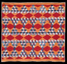 stunning Tumbling Blocks quilt, circa 1900, at The Quilt Complex.