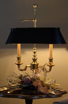 Lamp and Christmas Vignette