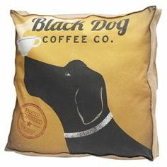 """Throw pillow with a black dog design and text detailing.  Product: PillowConstruction Material: Burlap and buttonsColor: MultiFeatures: Insert includedDimensions: 20"""" x 20"""""""