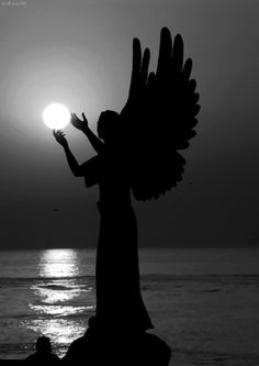 silhouett, orang, heaven, sunsets, perspective photography, light, weeping angels, forced perspective, guardian angels