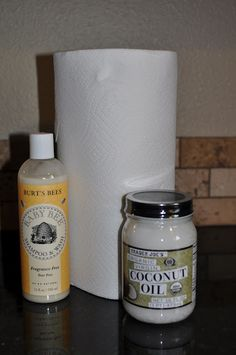 Home-made Wipes-4 cups water, squirt of baby wash/shampoo, 2T melted coconut oil(natural antibacterial)=2 containers wipes (cut 1 roll Bounty in 1/2), store in 7 cup containers