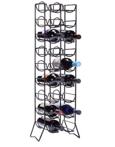"Scaffovino 18 Bottle Floor Rack for $80 from WineRacks.com  This stunning black tower floor rack could easily be mistaken for a metal sculpture. Holds 18 Bottles.  38""H x 9.5""W x 9.25""D"