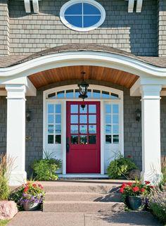 Gray house, red door