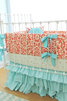 Coral+crib+bedding++Coral+Aqua+Damask+Ruffles+3+by+LottieDaBaby,+$450.00