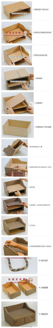 old boxes, craft, cardboard boxes, diy desk, storage boxes, office supplies, paper, people, drawer