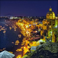 Corricella by night, Italy