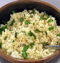 Parmesan couscous with roasted garlic, toasted pine nuts, and caramelized onions