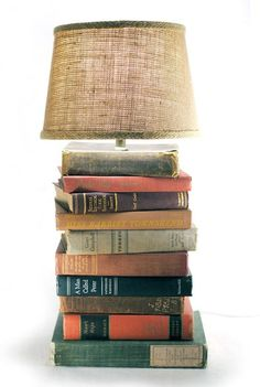 Vintage books lamp - DIY idea    We'll see if I can bring myself to destroy the books....