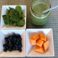 Green Monster Smoothie: 2 cups spinach  3/4 cup cantaloupe  1/2 banana  1/4 blueberries, fresh or frozen  1 cup almond milk, unsweetened  1/2 cup vanilla yogurt  1 Tbsp flax meal  ice    Method:  Put all of the ingredients in a blender or food processor except for the ice, starting with flax and spinach.  Top with fruit, milk and yogurt and blend for 1 minute.  Add ice, blend further.  Serve & Enjoy!