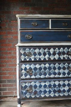 Antique Tall boy dresser using coast blue white black homemade chalk paint heavily distressed and stained & sanded argyle harlequin pattern on Etsy, $395.00