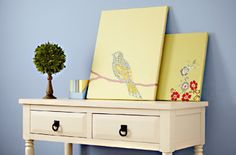 find vintage fabrics and wrap around canvas for wall art