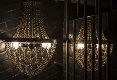 chain & exposed bulb chandelier