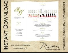 Silhouette Wedding Programs DIY Tri-Fold Customizable Instant Download TEMPLATE (olive, 14 party, bride 1)