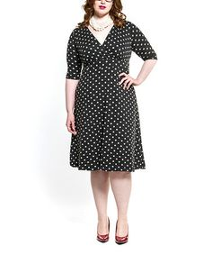 Look at this #zulilyfind! Black & White Polka Dot Empire-Waist Dress - Plus by Poppy & Bloom #zulilyfinds