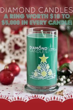 HOW COOL IS THAT?!?! Diamond Candles - Soy candle with hidden RINGS valued $10-$5,000. You burn the candle down and a ring reveals as a surprise! Fun Christmas gift ideas! PIN NOW shop later! (click through to shop)