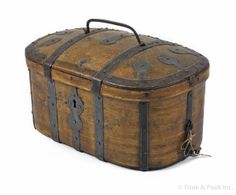 """Continental dome lid pine lock box, early 19th c., with wrought iron strapping, 10 1/2"""" h., 21 1/2"""" w."""
