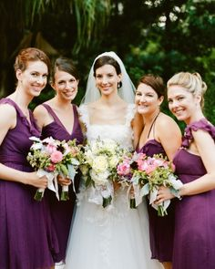 These 'maids looked pretty in plum Amsale dresses.