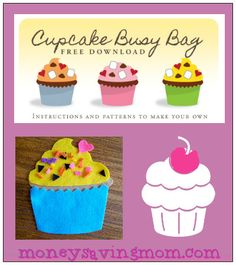 Cupcake Busy Bag: Instructions and Pattern- free download! super cute and fun!
