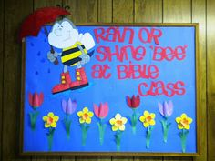 Rain or Shine Bulletin Board  3D Tulips