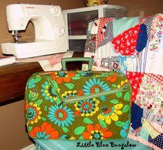 Vintage flower suitcase, yard sale find.