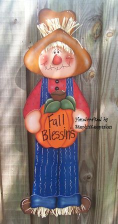 Wooden Scarecrow Wall Hanging Fall Autumn Home