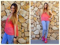 ♥ LOOK OF THE DAY 05-09-2012 ♥  ♥ Musculosa de Gasa Coral  ♥ Jegging Nevado  ♥ Francesca Sandals