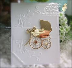 by Stamping with Bibiana: #WelcomeBabyBoy card made using #memorybox dies, use mirror paper for the baby carriage