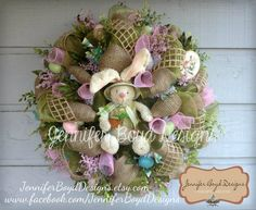 Very sweet Easter wreath by Jennifer Boyd Designs.    Find me on Facebook and Etsy!  www.facebook.com/JenniferBoydDesigns    JenniferBoydDesigns.etsy.com