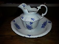 LARGE VINTAGE BLUE AND WHITE CERAMIC BOWL AND PITCHER