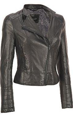 Black Rivet Faux-Leather Asymmetric Moto Jacket - Wilsons Leather