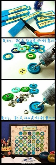 DIY : Beautiful Button Calendar | DIY  Crafts Tutorials. Maybe instead of buttons use beer bottle tops