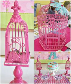 Birdcage decorations at a Baby Shower Party!  See more party ideas at CatchMyParty.com!