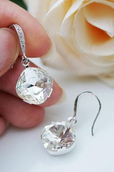 Wedding earrings. Love! Gorgeous, classic, simple, and simply beautiful
