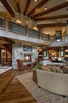 cabin, open floor plans, living rooms, exposed beams, fireplac, dream homes, ceiling beams, balconi, dream houses
