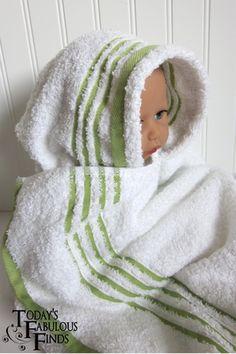 DIY hooded bath towel.
