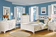 New bedroom set?  I'd get a queen bed, 2 nightstands, the long dresser, and mirror.  Picture it with a teal comforter and either grey walls with yellow accents or yellow walls with grey accents.  Thoughts??