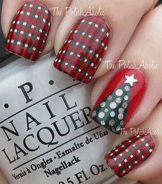 Christmas Plaid #checkers #rednails #christmas #holidaynails -bellashoot.com