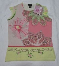 Jane-Doe-Knit-Top-Womens-S-Beaded-Shell-Floral-Paisley-Pink-Yellow-Green-Pastel by rho.marc1