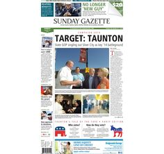 The front page of the Taunton Daily Gazette for Sunday, Aug. 24, 2014.