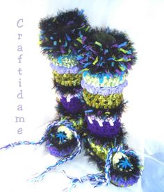 Amazing Crochet Slipper Boots - in purple and green!