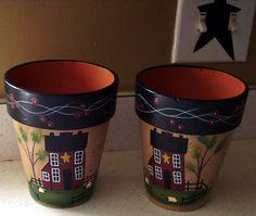 Primitive Country Saltbox House Clay Pots. Primitive Artstitchingappliqu, Flowers Pots, Clays Pots, Primitive Country, Country Decor, Flower Pots, Saltbox Houses, Clay Pots, Primitive Decor