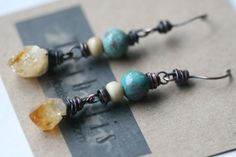 Turquoise and Raw Citrine earrings  http://www.etsy.com/shop/Tribalis