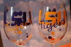 craft, glasses, louisiana, wine glass, lsu tiger, game, lsu footbal, cricut, geaux tigers
